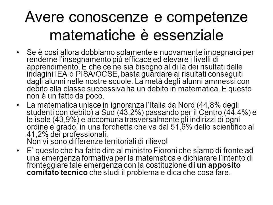 Avere conoscenze e competenze matematiche è essenziale Se è così allora dobbiamo solamente e nuovamente impegnarci per renderne linsegnamento più efficace ed elevare i livelli di apprendimento.