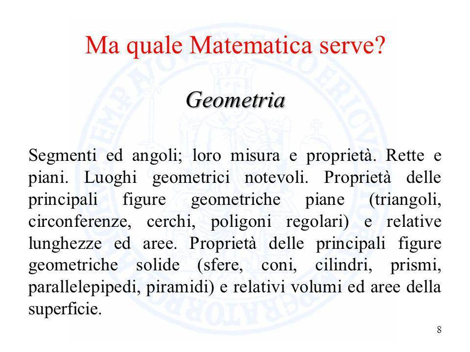 Ma quale Matematica serve? 7 Aritmetica ed algebra Proprietà e operazioni sui numeri (interi, razionali, reali). Valore assoluto. Potenze e radici. Lo