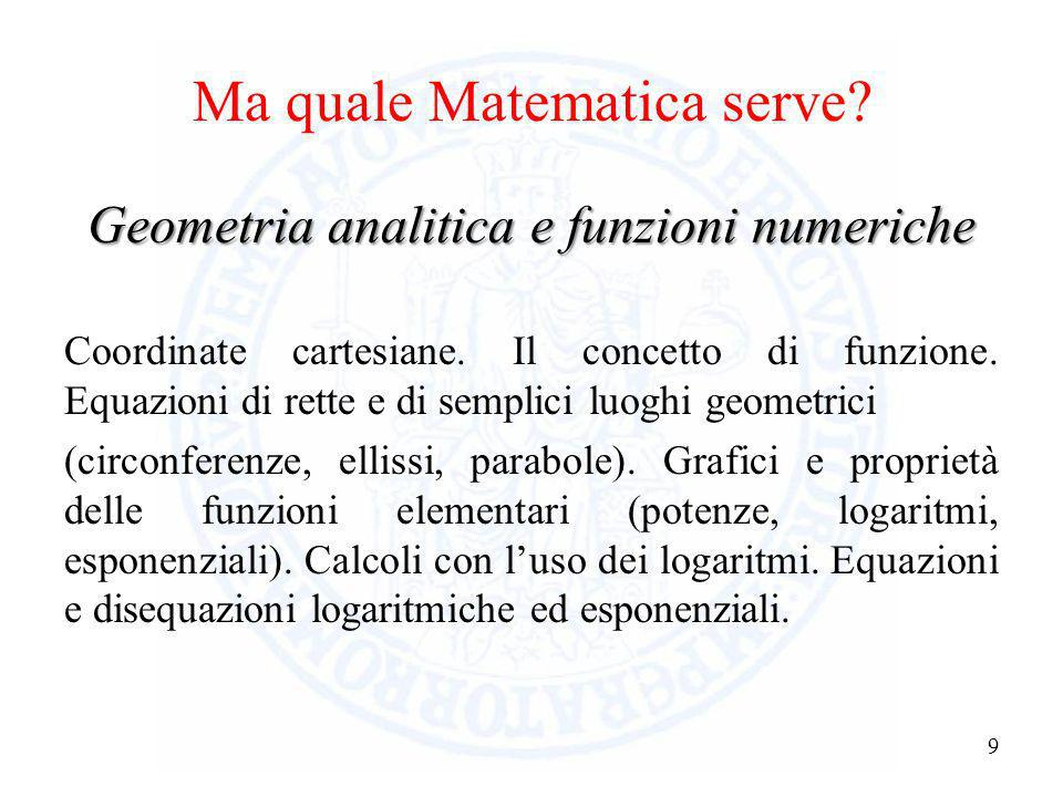 Ma quale Matematica serve? 8 Geometria Segmenti ed angoli; loro misura e proprietà. Rette e piani. Luoghi geometrici notevoli. Proprietà delle princip