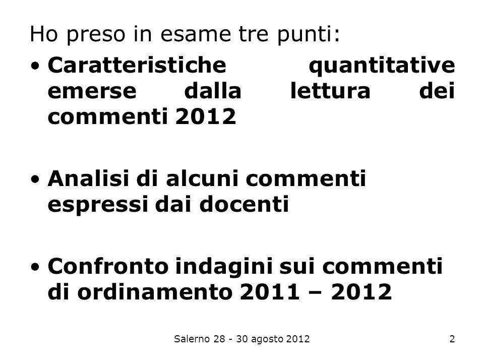 Salerno 28 - 30 agosto 20122 Ho preso in esame tre punti: Caratteristiche quantitative emerse dalla lettura dei commenti 2012 Analisi di alcuni commenti espressi dai docenti Confronto indagini sui commenti di ordinamento 2011 – 2012