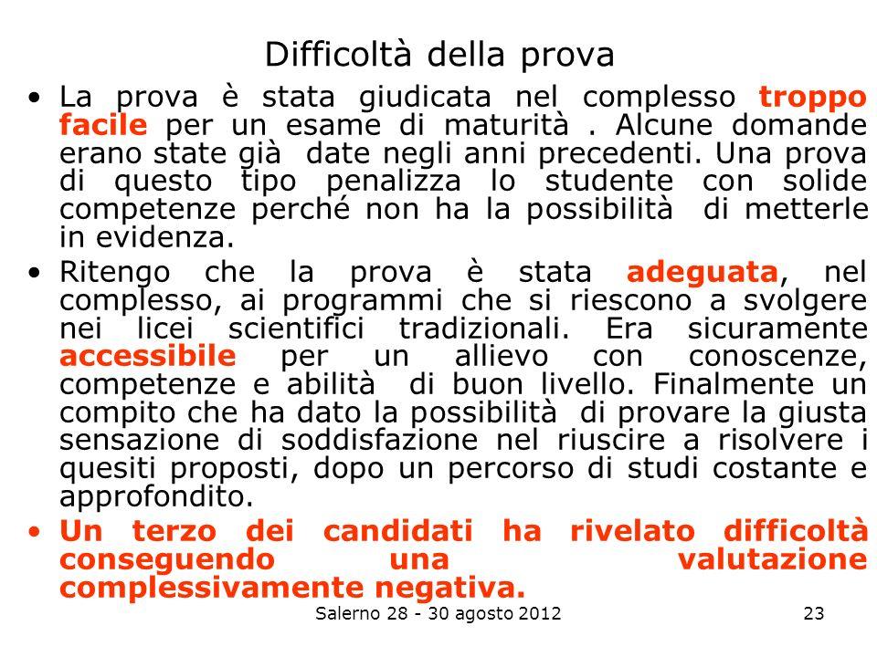 Salerno 28 - 30 agosto 201223 Difficoltà della prova La prova è stata giudicata nel complesso troppo facile per un esame di maturità.