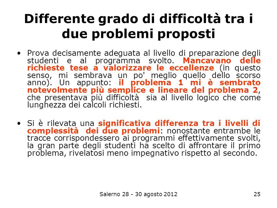 Salerno 28 - 30 agosto 201225 Differente grado di difficoltà tra i due problemi proposti Prova decisamente adeguata al livello di preparazione degli studenti e al programma svolto.