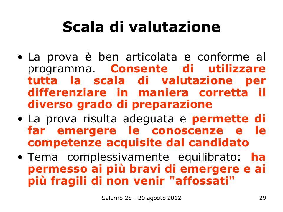 Salerno 28 - 30 agosto 201229 Scala di valutazione La prova è ben articolata e conforme al programma.