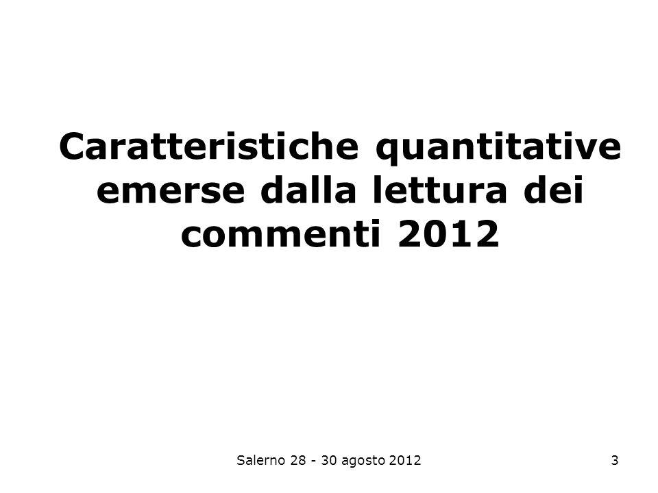 Salerno 28 - 30 agosto 20123 Caratteristiche quantitative emerse dalla lettura dei commenti 2012