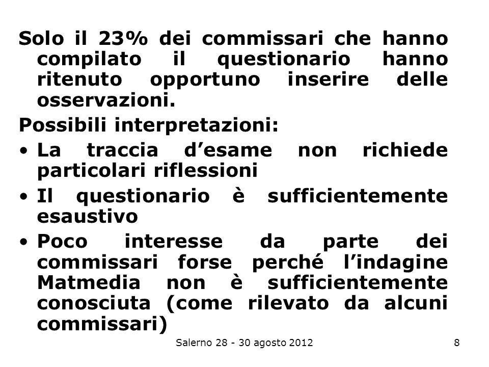 8 Solo il 23% dei commissari che hanno compilato il questionario hanno ritenuto opportuno inserire delle osservazioni.