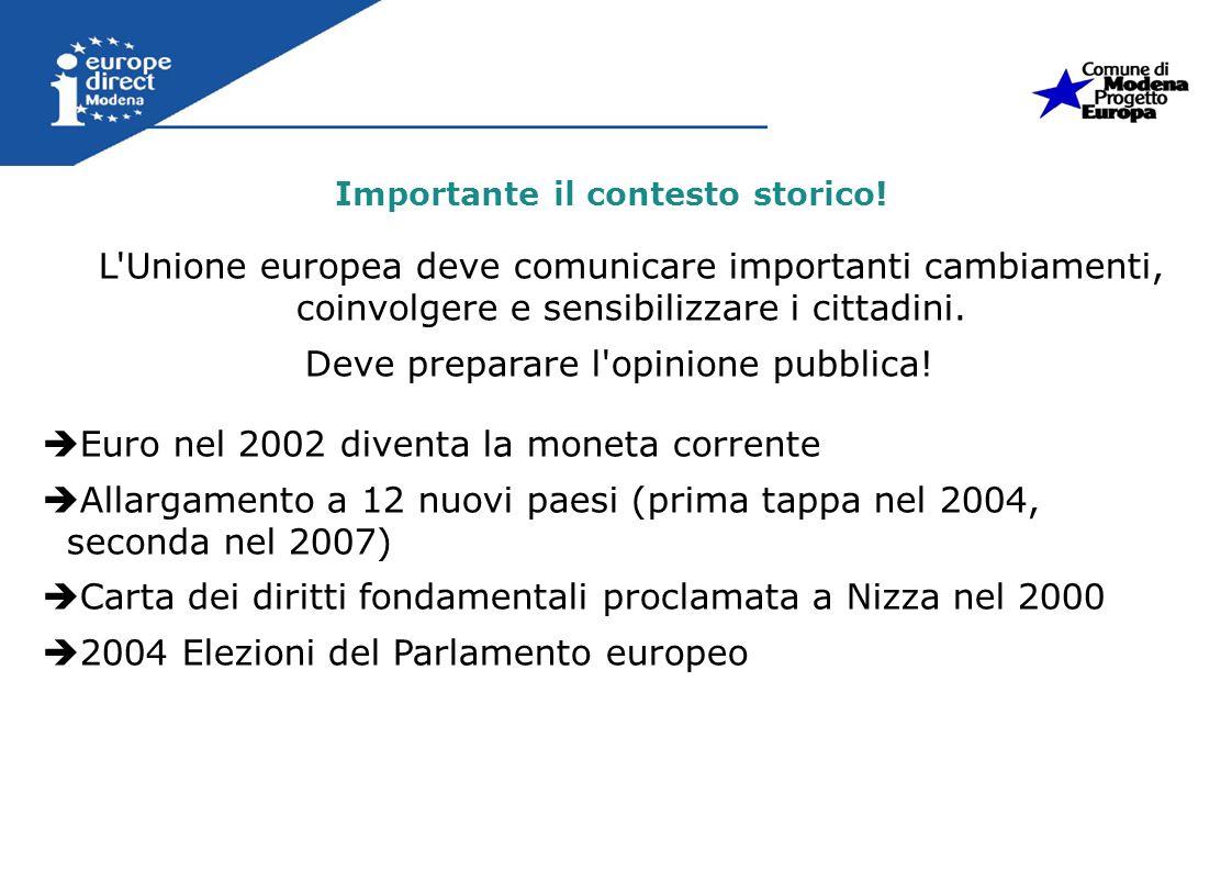 Importante il contesto storico! L'Unione europea deve comunicare importanti cambiamenti, coinvolgere e sensibilizzare i cittadini. Deve preparare l'op