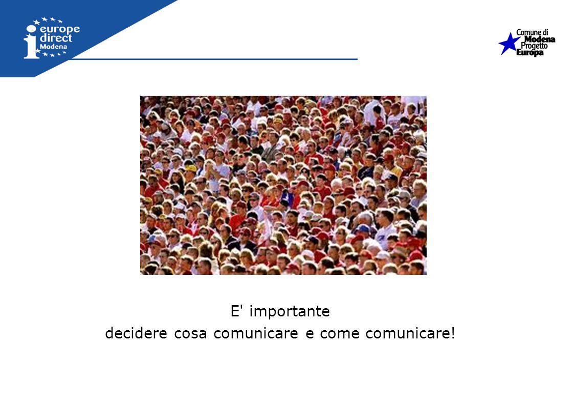 E' importante decidere cosa comunicare e come comunicare!