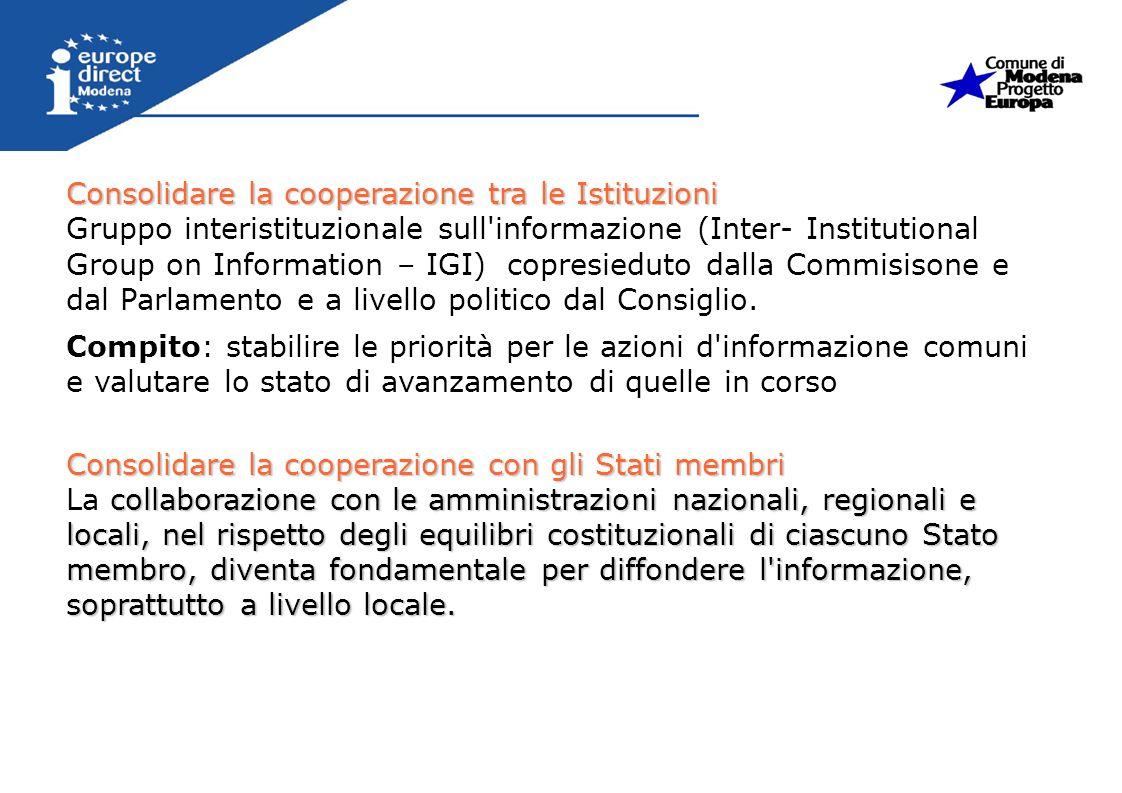 Consolidare la cooperazione tra le Istituzioni Gruppo interistituzionale sull'informazione (Inter- Institutional Group on Information – IGI) copresied