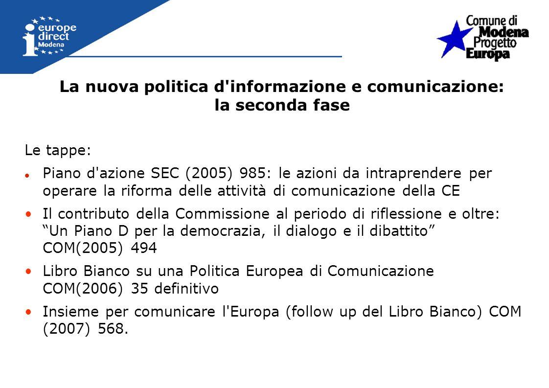 Le tappe: Piano d'azione SEC (2005) 985: le azioni da intraprendere per operare la riforma delle attività di comunicazione della CE Il contributo dell