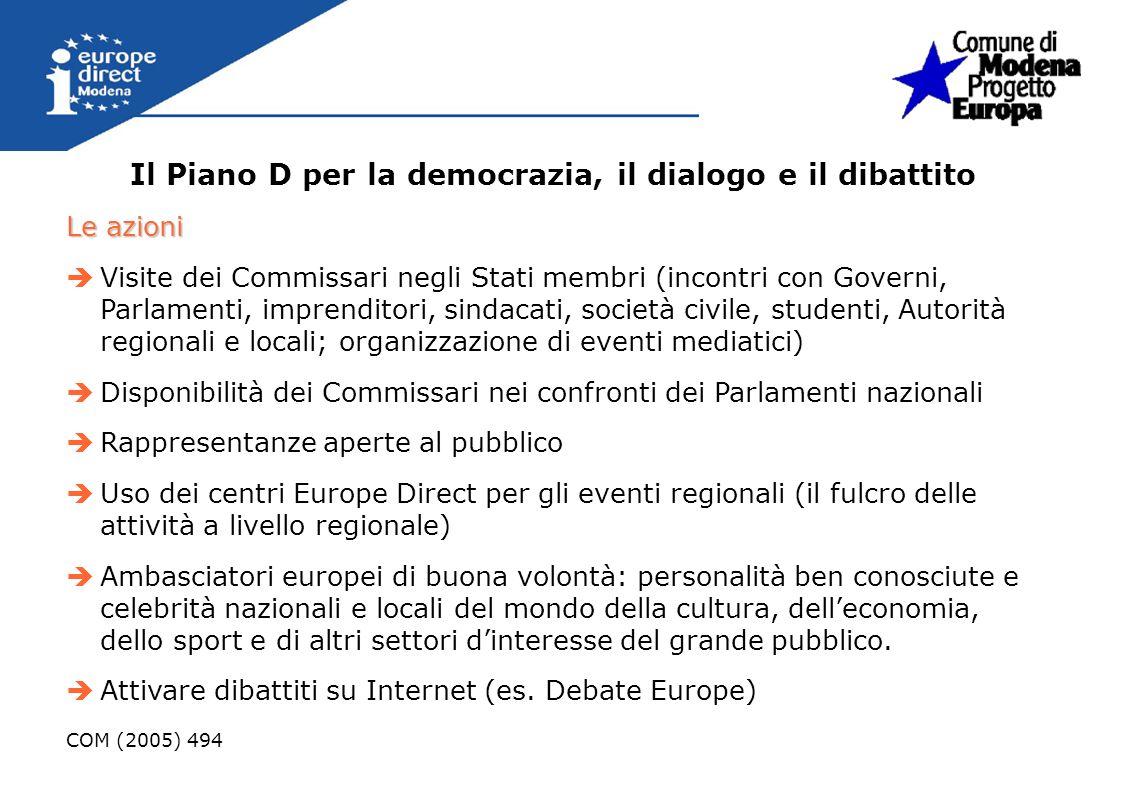 Il Piano D per la democrazia, il dialogo e il dibattito Le azioni Visite dei Commissari negli Stati membri (incontri con Governi, Parlamenti, imprendi