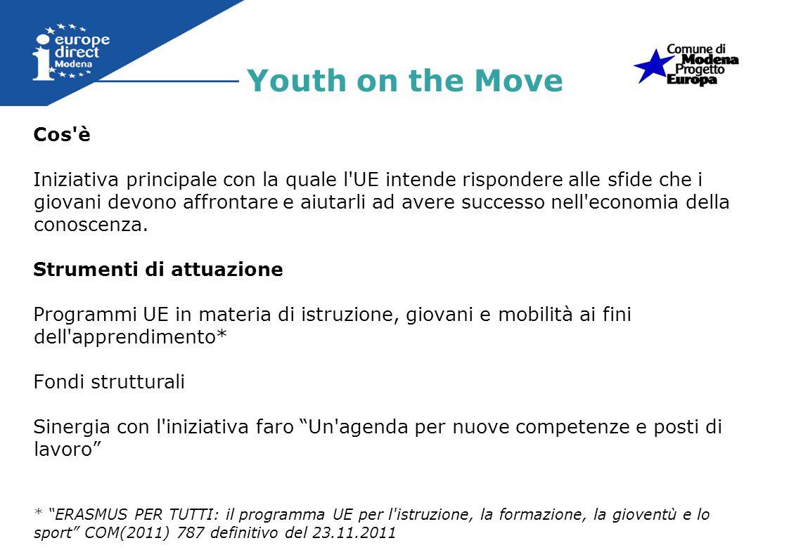 Linee d azione 1)Apprendimento permanente (crescita intelligente ed inclusiva) 2)Istruzione Superiore 3)Mobilità 4)Occupazione giovanile Youth on the Move