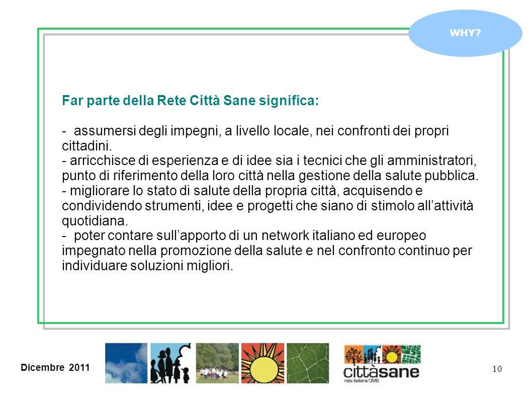 Dicembre 2011 10 WHY? Far parte della Rete Città Sane significa: - assumersi degli impegni, a livello locale, nei confronti dei propri cittadini. - ar