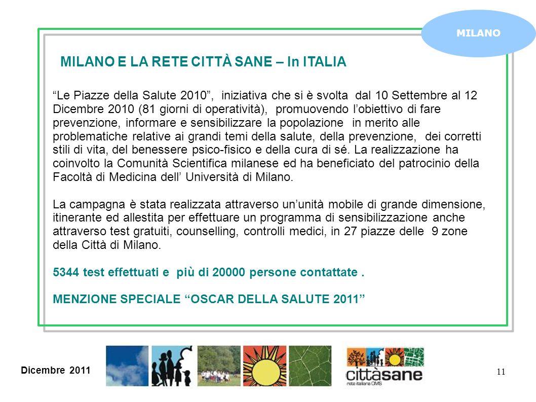 Dicembre 2011 11 MILANO MILANO E LA RETE CITTÀ SANE – In ITALIA Le Piazze della Salute 2010, iniziativa che si è svolta dal 10 Settembre al 12 Dicembr