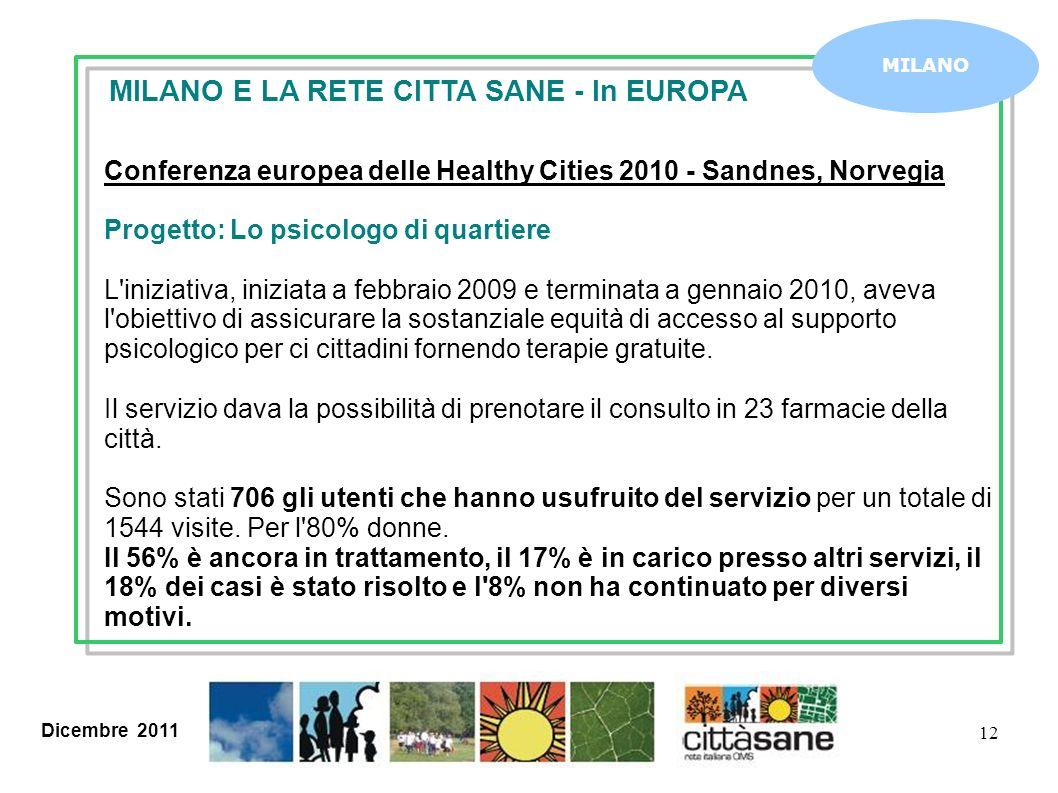 Dicembre 2011 12 MILANO MILANO E LA RETE CITTA SANE - In EUROPA Conferenza europea delle Healthy Cities 2010 - Sandnes, Norvegia Progetto: Lo psicolog