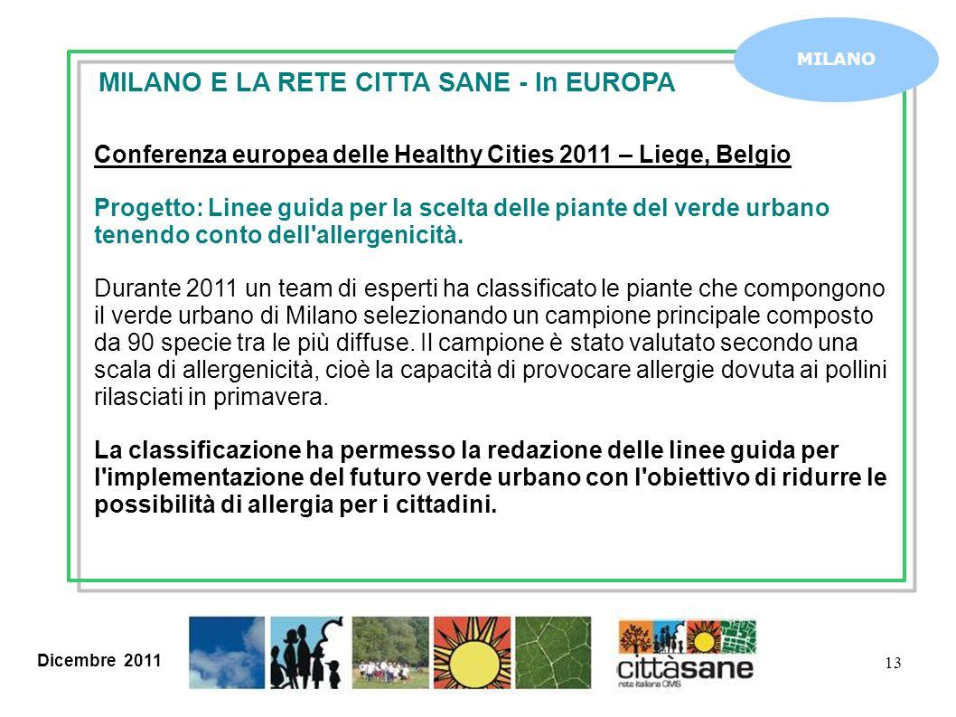 Dicembre 2011 13 MILANO MILANO E LA RETE CITTA SANE - In EUROPA Conferenza europea delle Healthy Cities 2011 – Liege, Belgio Progetto: Linee guida per la scelta delle piante del verde urbano tenendo conto dell allergenicità.