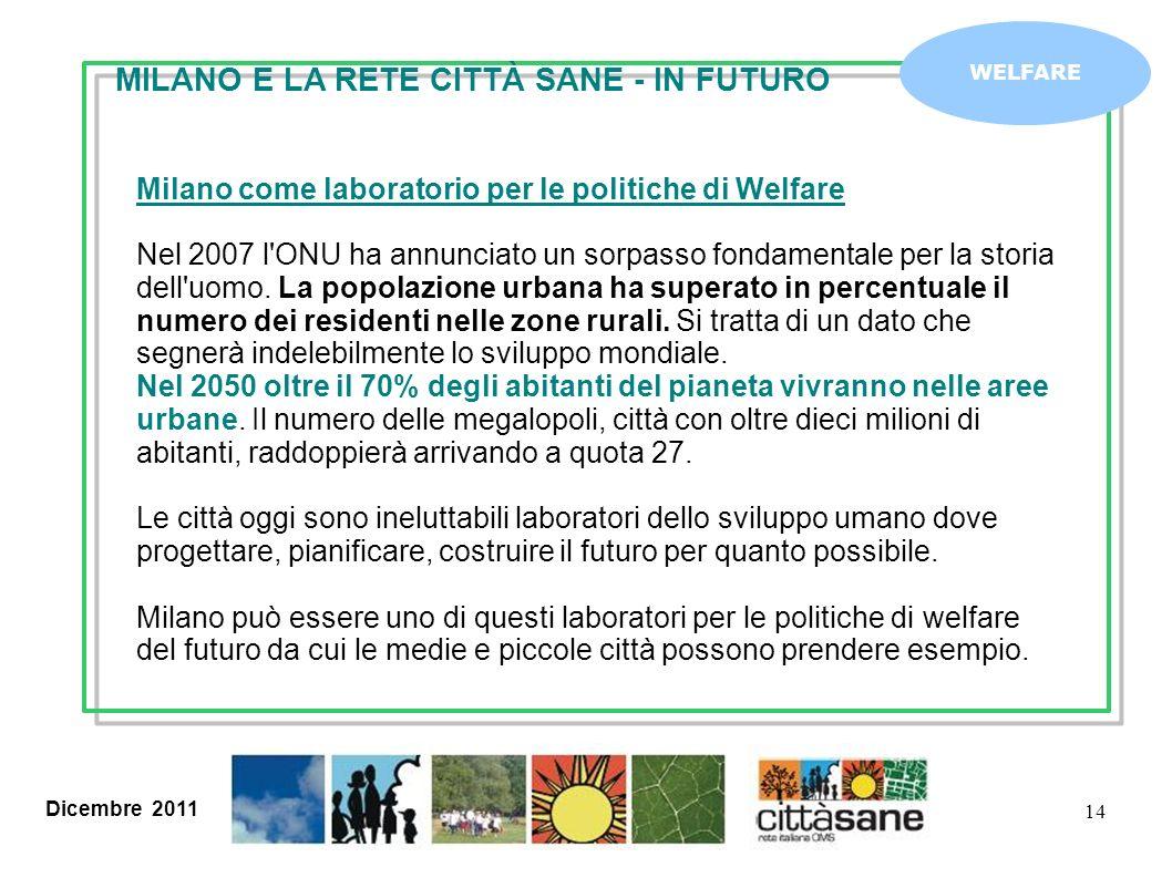 Dicembre 2011 14 WELFARE Milano come laboratorio per le politiche di Welfare Nel 2007 l'ONU ha annunciato un sorpasso fondamentale per la storia dell'