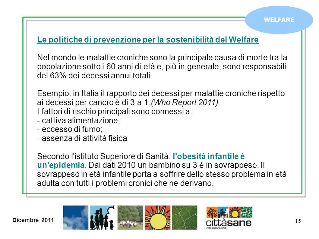 Dicembre 2011 15 WELFARE Le politiche di prevenzione per la sostenibilità del Welfare Nel mondo le malattie croniche sono la principale causa di morte