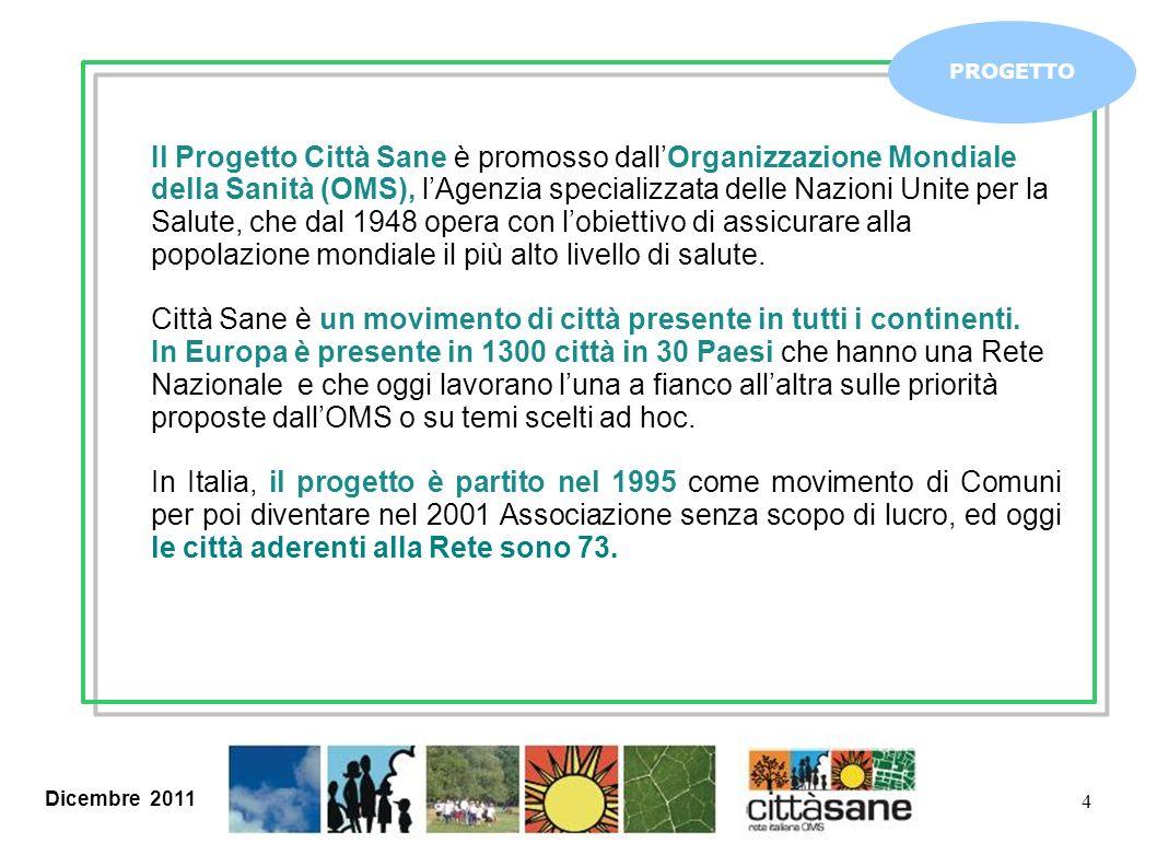 Dicembre 2011 4 PROGETTO Il Progetto Città Sane è promosso dallOrganizzazione Mondiale della Sanità (OMS), lAgenzia specializzata delle Nazioni Unite