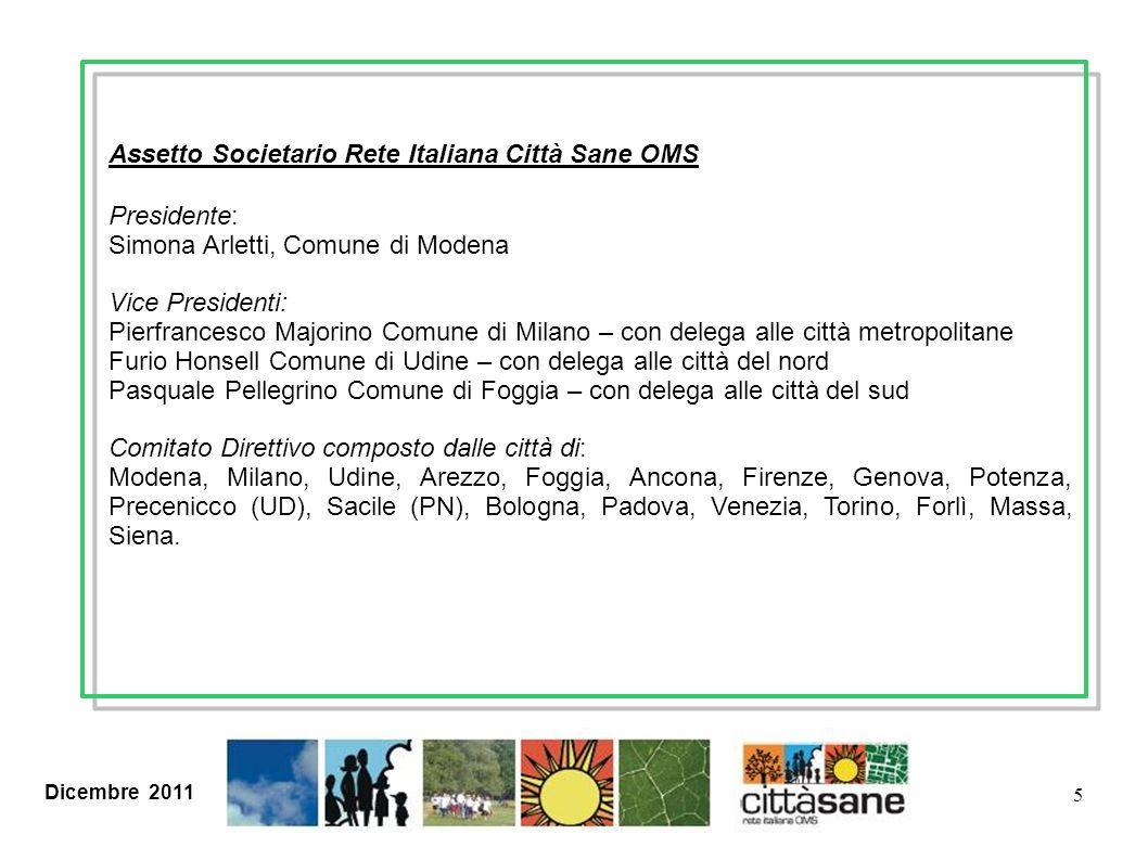 Dicembre 2011 5 Assetto Societario Rete Italiana Città Sane OMS Presidente: Simona Arletti, Comune di Modena Vice Presidenti: Pierfrancesco Majorino C