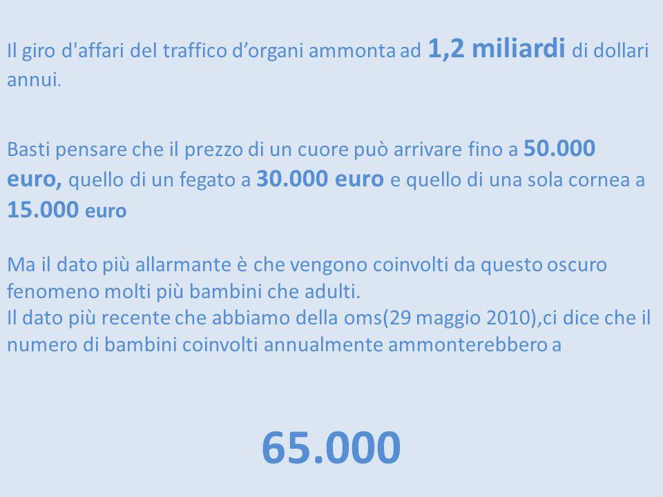 Il giro d'affari del traffico dorgani ammonta ad 1,2 miliardi di dollari annui. Basti pensare che il prezzo di un cuore può arrivare fino a 50.000 eur