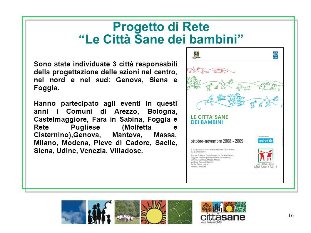 16 Progetto di Rete Le Città Sane dei bambini Sono state individuate 3 città responsabili della progettazione delle azioni nel centro, nel nord e nel