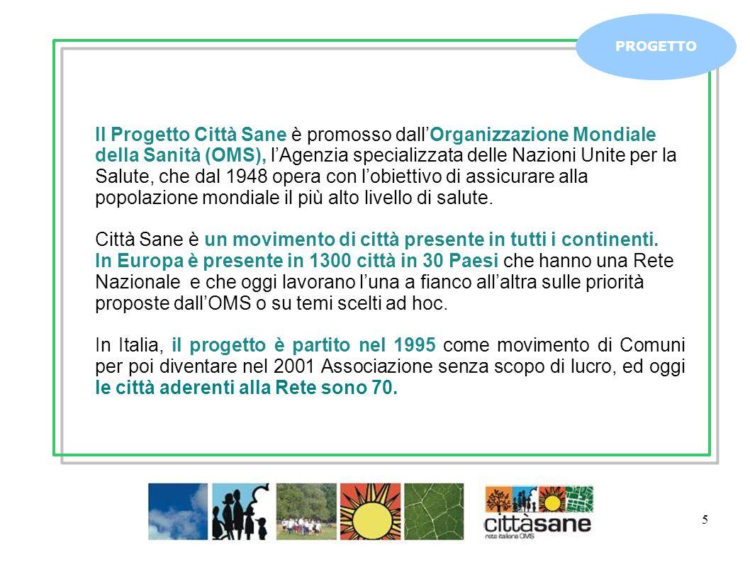 5 PROGETTO Il Progetto Città Sane è promosso dallOrganizzazione Mondiale della Sanità (OMS), lAgenzia specializzata delle Nazioni Unite per la Salute,