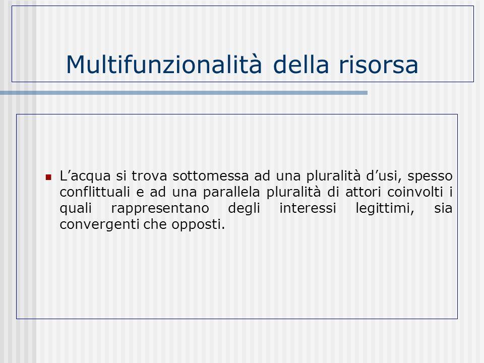 Multifunzionalità della risorsa Lacqua si trova sottomessa ad una pluralità dusi, spesso conflittuali e ad una parallela pluralità di attori coinvolti
