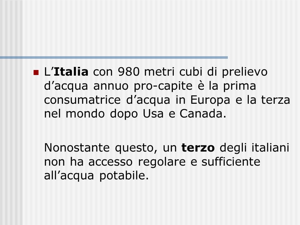 LItalia con 980 metri cubi di prelievo dacqua annuo pro-capite è la prima consumatrice dacqua in Europa e la terza nel mondo dopo Usa e Canada.