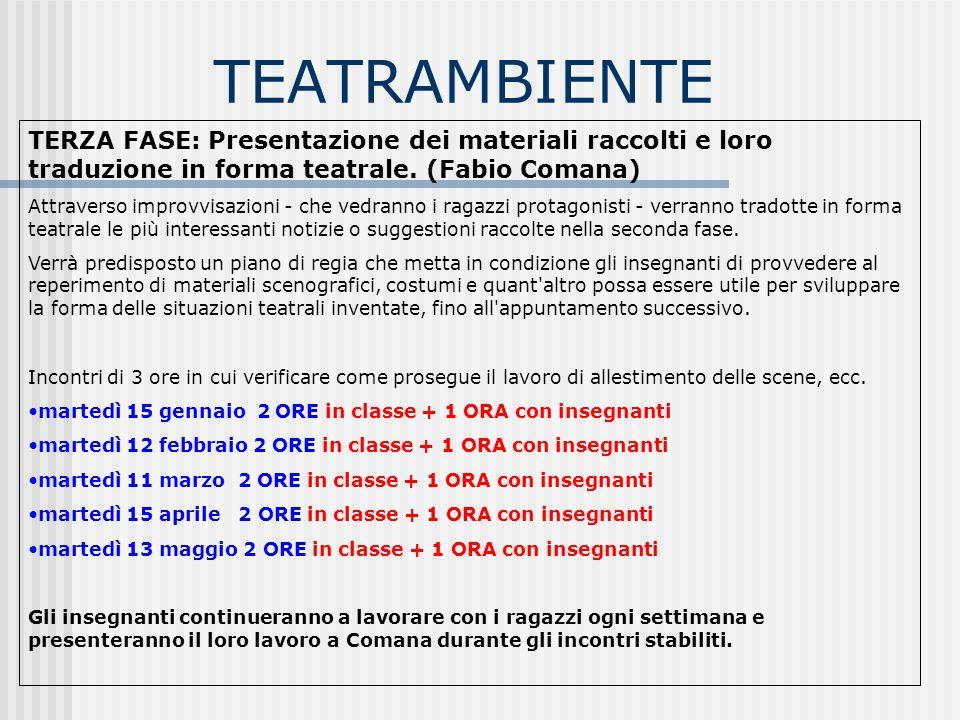 TEATRAMBIENTE TERZA FASE: Presentazione dei materiali raccolti e loro traduzione in forma teatrale.