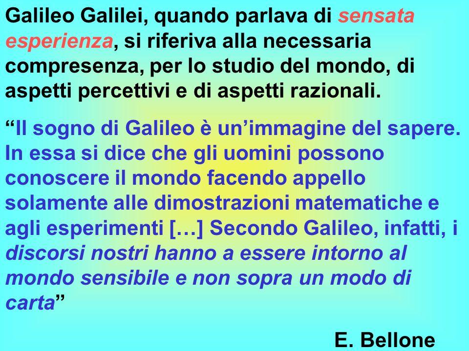 Galileo Galilei, quando parlava di sensata esperienza, si riferiva alla necessaria compresenza, per lo studio del mondo, di aspetti percettivi e di as