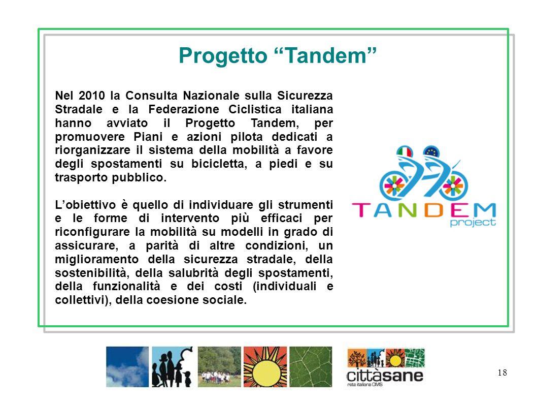 18 Nel 2010 la Consulta Nazionale sulla Sicurezza Stradale e la Federazione Ciclistica italiana hanno avviato il Progetto Tandem, per promuovere Piani