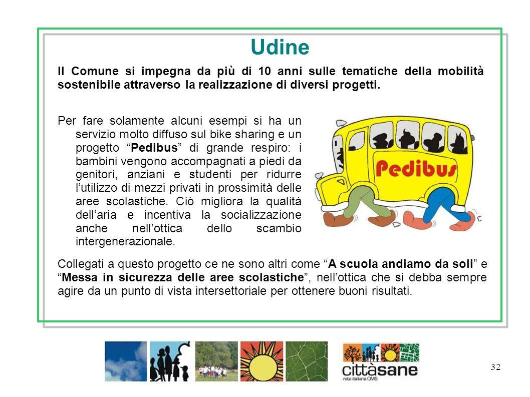 32 Per fare solamente alcuni esempi si ha un servizio molto diffuso sul bike sharing e un progetto Pedibus di grande respiro: i bambini vengono accomp