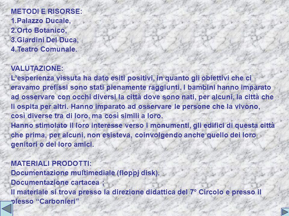 METODI E RISORSE: 1.Palazzo Ducale, 2.Orto Botanico, 3.Giardini Del Duca, 4.Teatro Comunale.