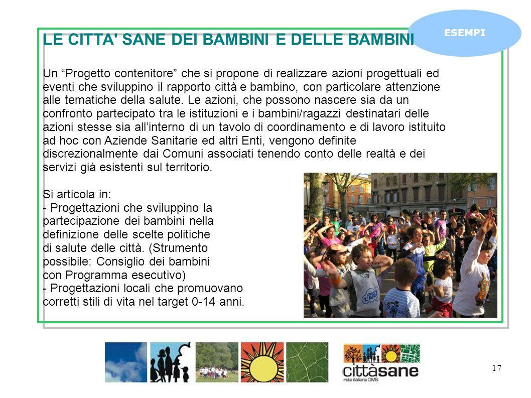 Marzo 2011 17 ESEMPI LE CITTA' SANE DEI BAMBINI E DELLE BAMBINI Un Progetto contenitore che si propone di realizzare azioni progettuali ed eventi che
