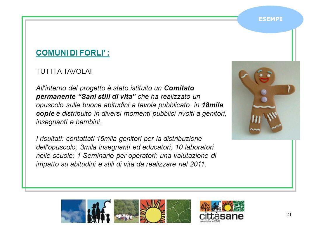 Marzo 2011 21 ESEMPI COMUNI DI FORLI' : TUTTI A TAVOLA! All'interno del progetto è stato istituito un Comitato permanente Sani stili di vita che ha re