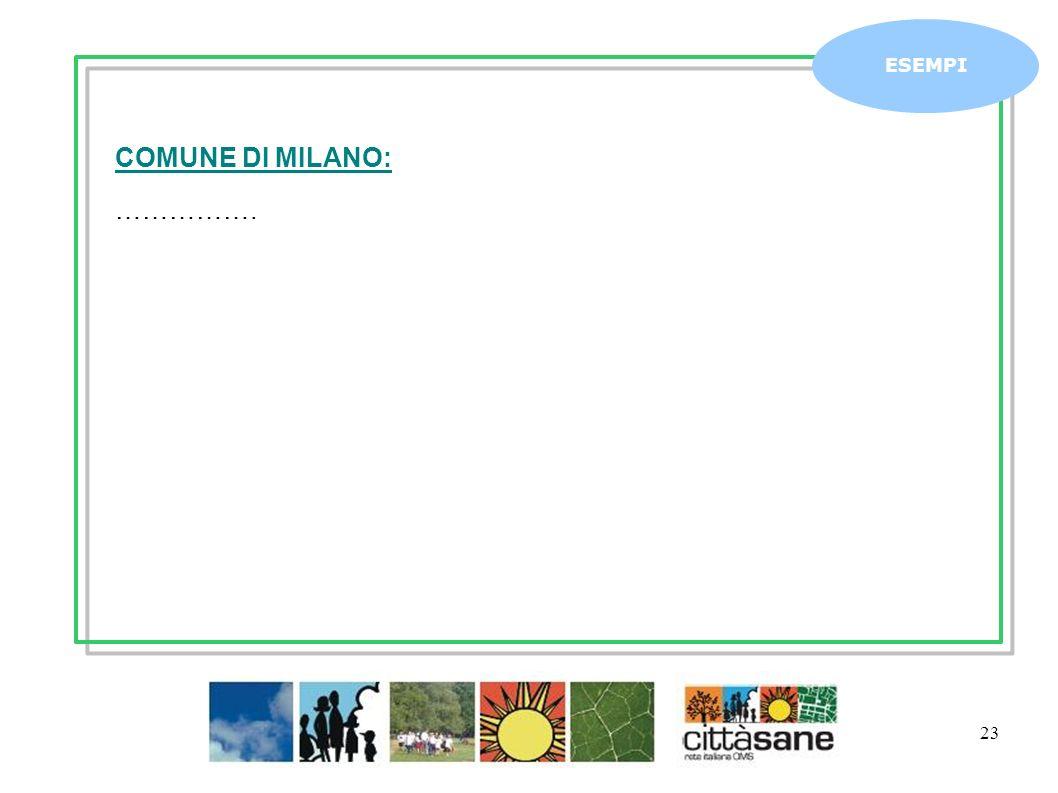 Marzo 2011 23 ESEMPI COMUNE DI MILANO: …………….