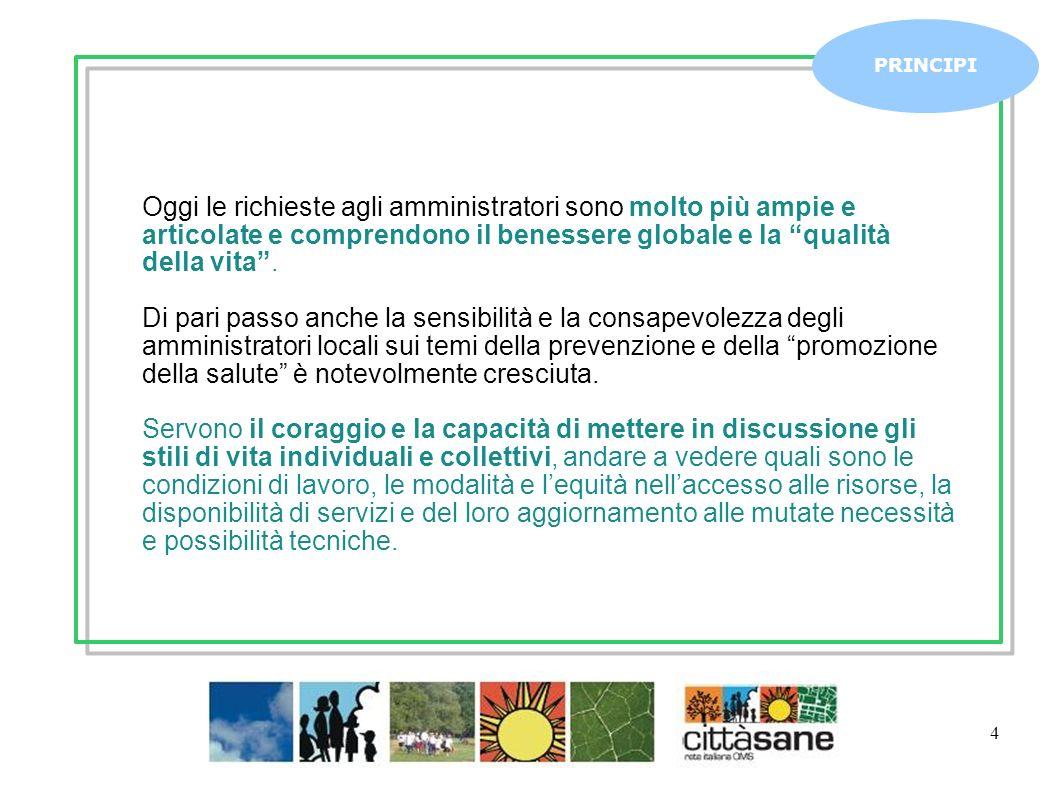 Marzo 2011 4 Oggi le richieste agli amministratori sono molto più ampie e articolate e comprendono il benessere globale e la qualità della vita.