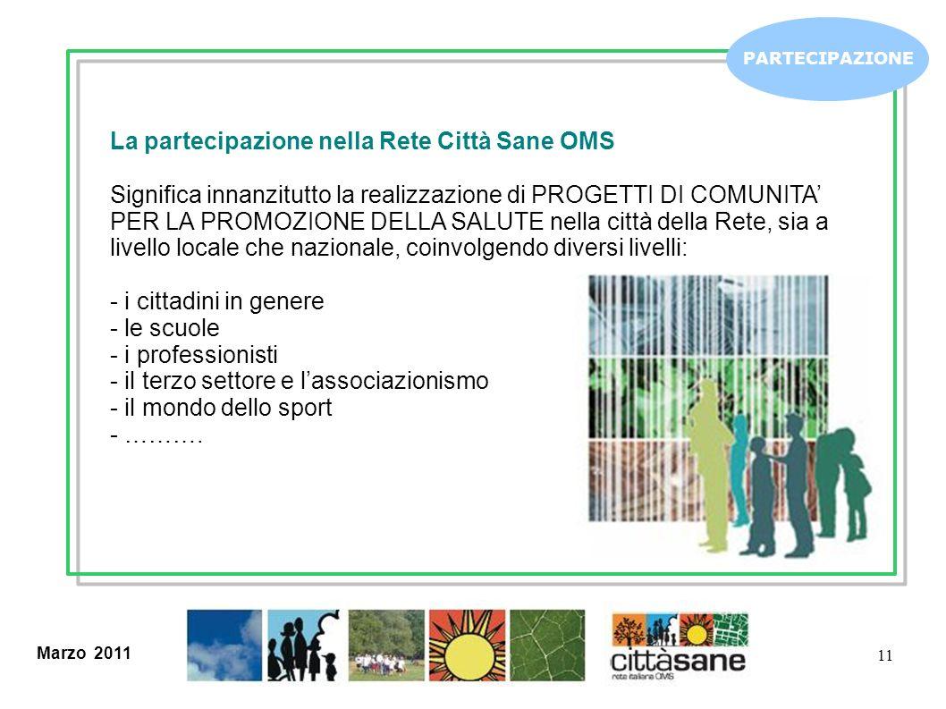 Marzo 2011 11 PARTECIPAZIONE La partecipazione nella Rete Città Sane OMS Significa innanzitutto la realizzazione di PROGETTI DI COMUNITA PER LA PROMOZ