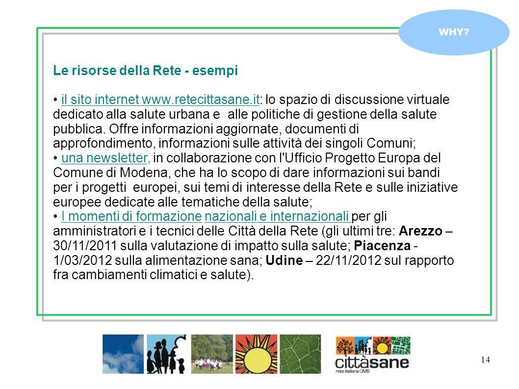 14 WHY? Le risorse della Rete - esempi il sito internet www.retecittasane.it: lo spazio di discussione virtuale dedicato alla salute urbana e alle pol