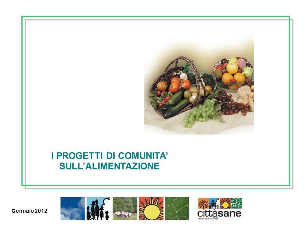 Marzo 2011 I PROGETTI DI COMUNITA SULLALIMENTAZIONE Gennaio 2012