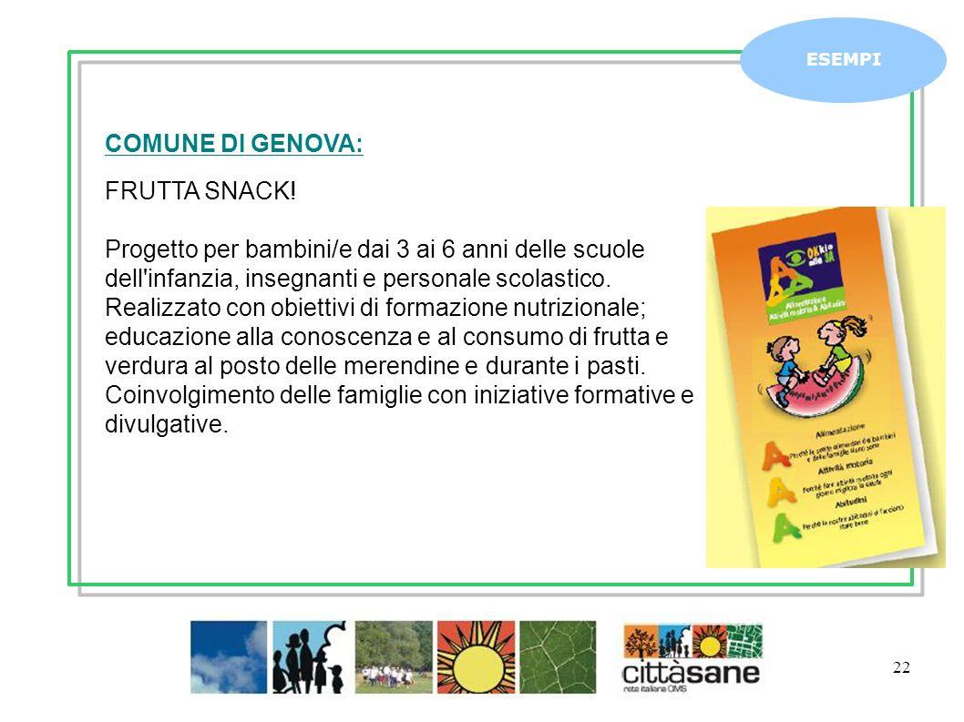 Marzo 2011 22 ESEMPI COMUNE DI GENOVA: FRUTTA SNACK! Progetto per bambini/e dai 3 ai 6 anni delle scuole dell'infanzia, insegnanti e personale scolast