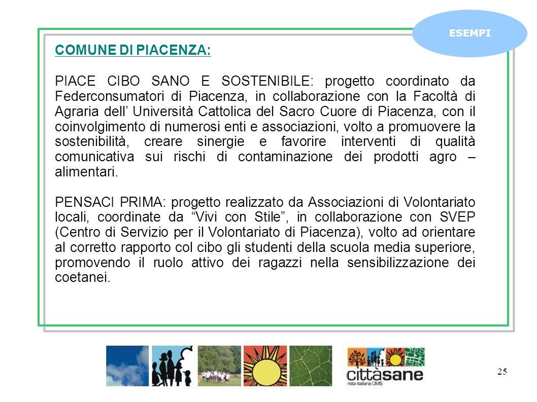 Marzo 2011 25 ESEMPI COMUNE DI PIACENZA: PIACE CIBO SANO E SOSTENIBILE: progetto coordinato da Federconsumatori di Piacenza, in collaborazione con la