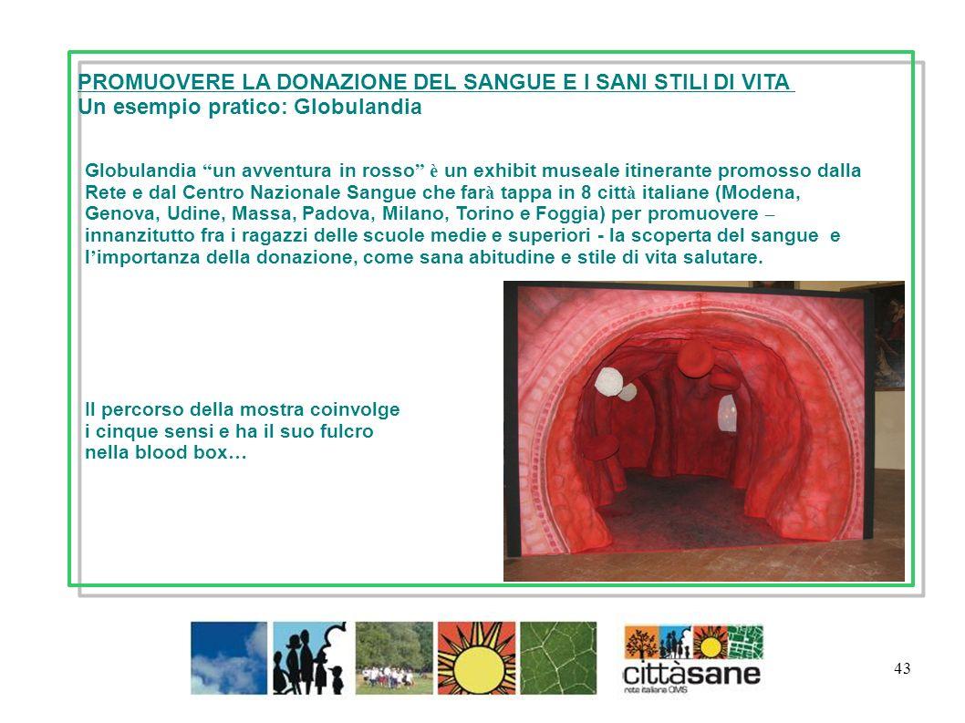Marzo 2011 43 PROMUOVERE LA DONAZIONE DEL SANGUE E I SANI STILI DI VITA Un esempio pratico: Globulandia Globulandia un avventura in rosso è un exhibit