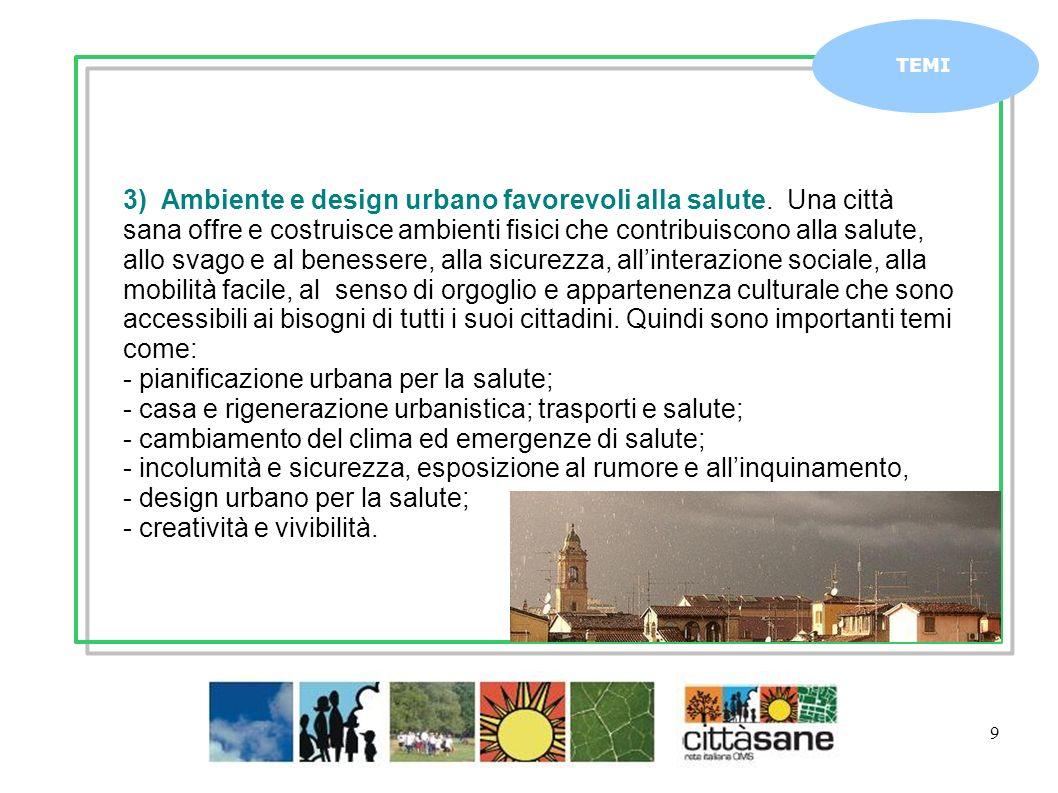 Marzo 2011 9 TEMI 3) Ambiente e design urbano favorevoli alla salute. Una città sana offre e costruisce ambienti fisici che contribuiscono alla salute