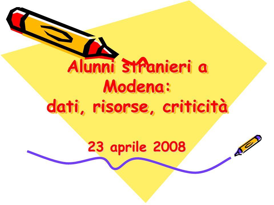 Alunni stranieri a Modena: dati, risorse, criticità 23 aprile 2008