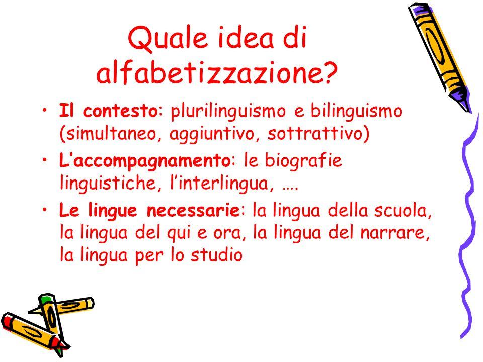 Quale idea di alfabetizzazione? Il contesto: plurilinguismo e bilinguismo (simultaneo, aggiuntivo, sottrattivo) Laccompagnamento: le biografie linguis