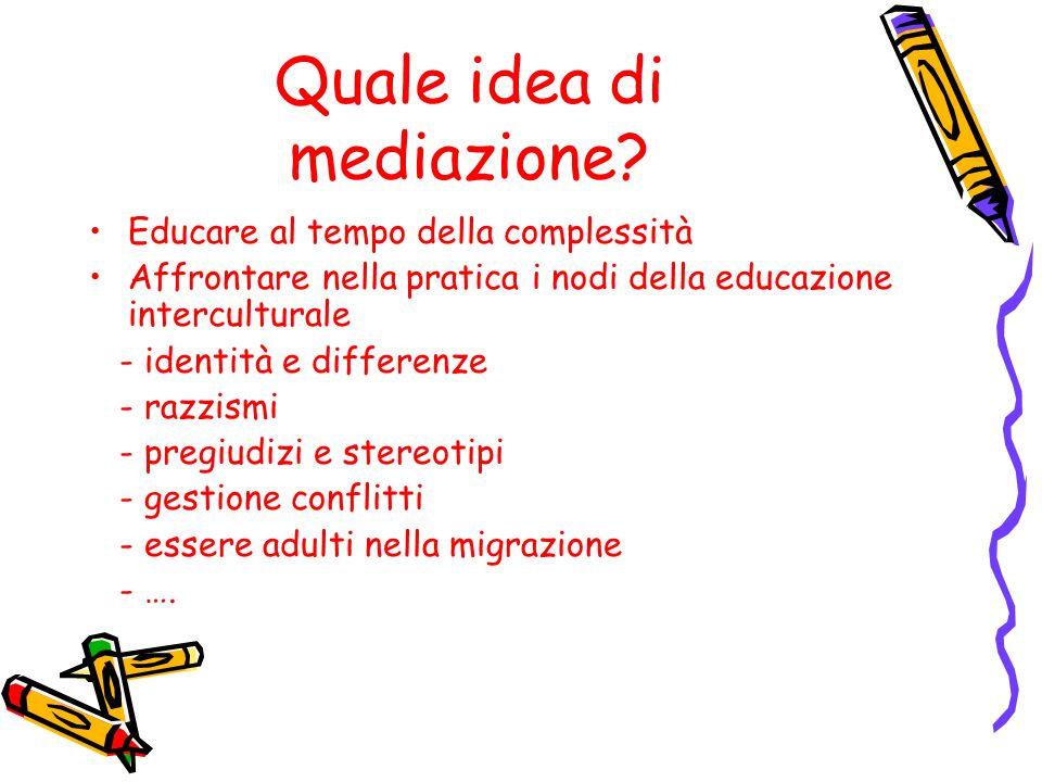 Quale idea di mediazione? Educare al tempo della complessità Affrontare nella pratica i nodi della educazione interculturale - identità e differenze -