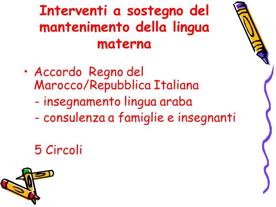 Interventi a sostegno del mantenimento della lingua materna Accordo Regno del Marocco/Repubblica Italiana - insegnamento lingua araba - consulenza a famiglie e insegnanti 5 Circoli