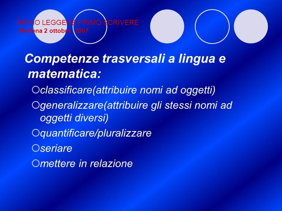 PRIMO LEGGERE PRIMO SCRIVERE Modena 2 ottobre 2007 Competenze trasversali a lingua e matematica: classificare(attribuire nomi ad oggetti) generalizzar