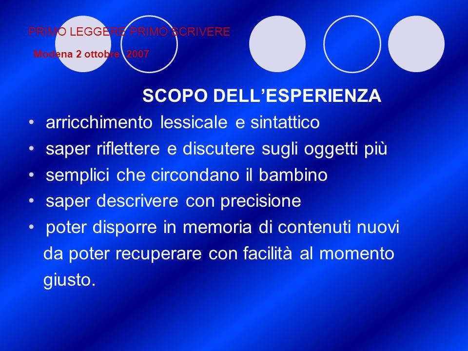 PRIMO LEGGERE PRIMO SCRIVERE Modena 2 ottobre 2007 SCOPO DELLESPERIENZA arricchimento lessicale e sintattico saper riflettere e discutere sugli oggett